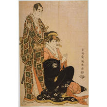 Toshusai Sharaku: Actors Sawamura Sojuro 3 and Segawa Kikunojo 3 in the Roles of Nagoya Sanza and Courtesan Katsuragi — 三世沢村宗十郎の名護屋山三と三世瀬川菊之丞の傾城かつらぎ - Japanese Art Open Database