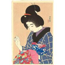Ito Shinsui: Spring - A collar for an undergarment - Japanese Art Open Database