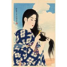 Ito Shinsui: After washing her hair - Japanese Art Open Database