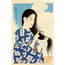 伊東深水: After washing her hair - Japanese Art Open Database