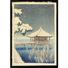 伊東深水: Snowfall over Ukimodo Shrine at Katada - Japanese Art Open Database