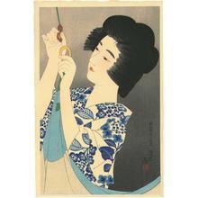 伊東深水: Hanging Up the Mosquito Net - Japanese Art Open Database