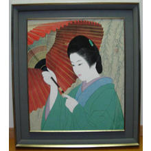 伊東深水: Beauty below the willow — 柳下美人 - Japanese Art Open Database