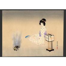 Ito Shinsui: Bijin, lamp and incense burner - Japanese Art Open Database