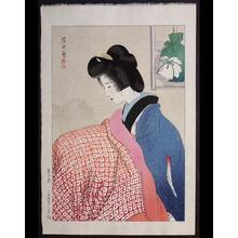 伊東深水: Snowy Night- Woman Warming Herself on a foot warmer — 雪の夜 - Japanese Art Open Database