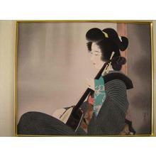 伊東深水: Strumming — 爪びき - Japanese Art Open Database