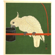 Shoson Ohara: Cockatoo on a red bar - Japanese Art Open Database