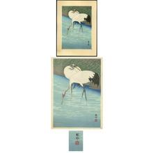 Shoson Ohara: Two Herons feeding in the marshes - Japanese Art Open Database