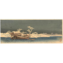 Shotei Takahashi: Boat by the snow-covered bank of the Sumida River - Japanese Art Open Database