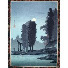 Shotei Takahashi: C19- Moonrise at Tsukagoshi Myojin shrine - Japanese Art Open Database