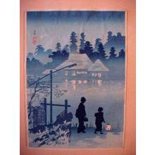 Shotei Takahashi: C9- Night scene of Mabashi, near Tokyo - Japanese Art Open Database