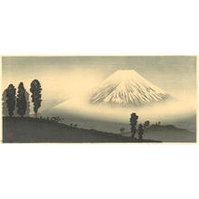Shotei Takahashi: M14- Mt Fuji in mist- mountain pass in front - Japanese Art Open Database
