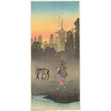 Shotei Takahashi: M59 Vesper-bells in the village - Japanese Art Open Database