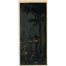 Shotei Takahashi: Night rain at a shrine - Japanese Art Open Database