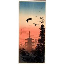 Shotei Takahashi: Pagoda and Crows at Sunset - Japanese Art Open Database