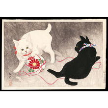 Shotei Takahashi: Playing cats - Japanese Art Open Database