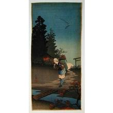 Shotei Takahashi: Returning woman in an autumn evening — Tasogare - Japanese Art Open Database