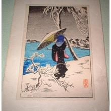 Shotei Takahashi: Woman in snow by the river - Japanese Art Open Database