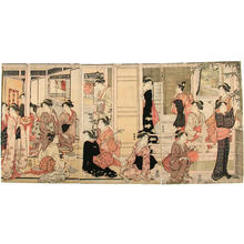 勝川春潮: Teahouse scene - Japanese Art Open Database