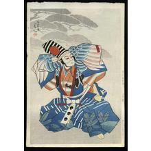 Natori Shunsen: Ichikawa Danshiro as Sanbaso in a Blue Kimono - Japanese Art Open Database