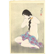 Natori Shunsen: Combing her hair - Japanese Art Open Database