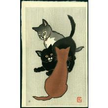 名取春仙: Three Kittens Playing - Japanese Art Open Database