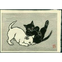 Natori Shunsen: Two cats playing - Japanese Art Open Database