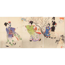Miyagawa Shuntei: January — 其一 追羽子 - Japanese Art Open Database