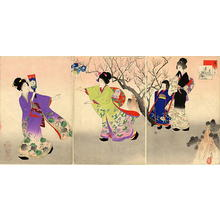 宮川春汀: January — 其一 追羽子 - Japanese Art Open Database