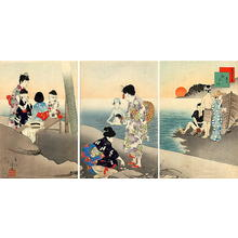 宮川春汀: July — 其七 海水浴 - Japanese Art Open Database