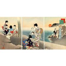 宮川春汀: July — 其七 海水浴 - Japanese Art Open Database
