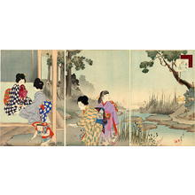 宮川春汀: September — 其九 秋の庭 - Japanese Art Open Database