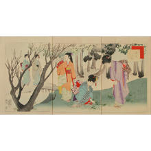 宮川春汀: Picking herbs and wildflowers — つみくさ (摘み草) - Japanese Art Open Database