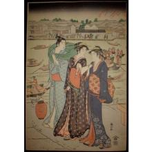 Katsukawa Shunzan: Ryukoku at night — 両国の夕辺 - Japanese Art Open Database