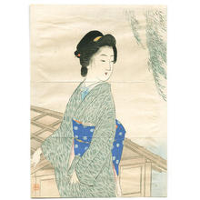 Suzuki Kason: Bijin and Willow Tree - Japanese Art Open Database