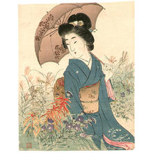 Suzuki Kason: Bijin in Autumn Garden - Japanese Art Open Database