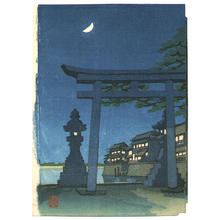 Tadamasa Ueno: Torii Gate in a Moonlit Night - Japanese Art Open Database