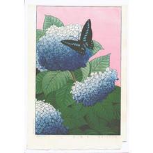 Taisui Inuzuka: Hydrangeas and Butterfly - Japanese Art Open Database
