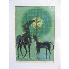 Kasamatsu Shiro: Unknown- Two Horses - Japanese Art Open Database