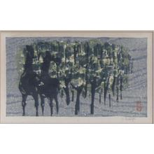Kasamatsu Shiro: Unknown- two horses and forest - Japanese Art Open Database