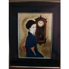 Takasawa Keiichi: Clock and Beauty- oil painting - Japanese Art Open Database