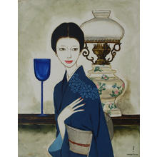 Takasawa Keiichi: Lamp and Woman — ランプと夫人 - Japanese Art Open Database
