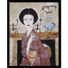 Takasawa Keiichi: Wife and Lamp — 夫人とランプ - Japanese Art Open Database