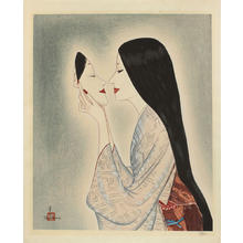 Takasawa Keiichi: Woman holding a Noh mask - Japanese Art Open Database