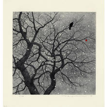 Tanaka Ryohei: Crow and Persimmon in the Snow - Japanese Art Open Database
