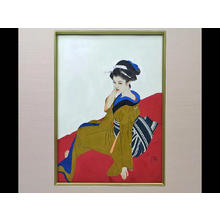 Tatsumi Shimura: Bijin on red seat - Japanese Art Open Database