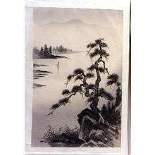 Tekiho Imoto: Lake and Pine Tree- Oban - Japanese Art Open Database
