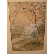Terauchi Fukutaro: Bridge and Cherry trees on spring rainy day - Japanese Art Open Database