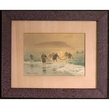 Terauchi Fukutaro: Fishermen with nets at the beach of Enoshima - Japanese Art Open Database