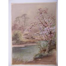 Terauchi Fukutaro: Hut and cherry tree by river - Japanese Art Open Database